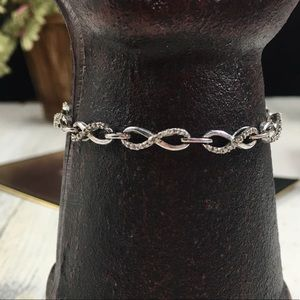 Sterling Silver Infinity Diamond Bracelet